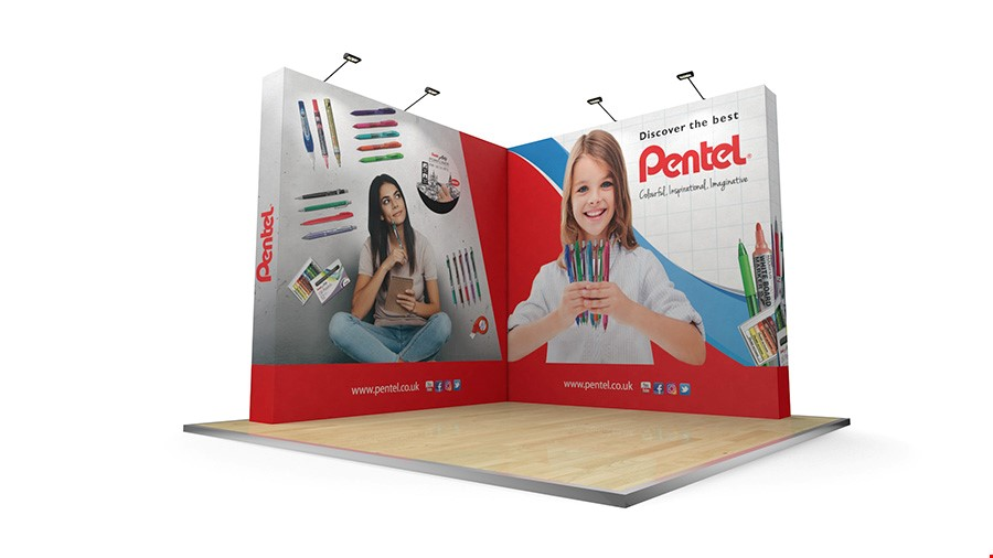3m x 3m L-Shaped Fabric Pop Up Stand