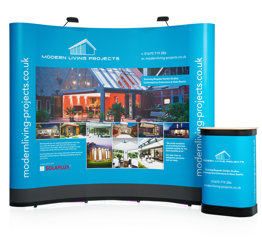 3x3 Double Sided Curved Pop Up Stand