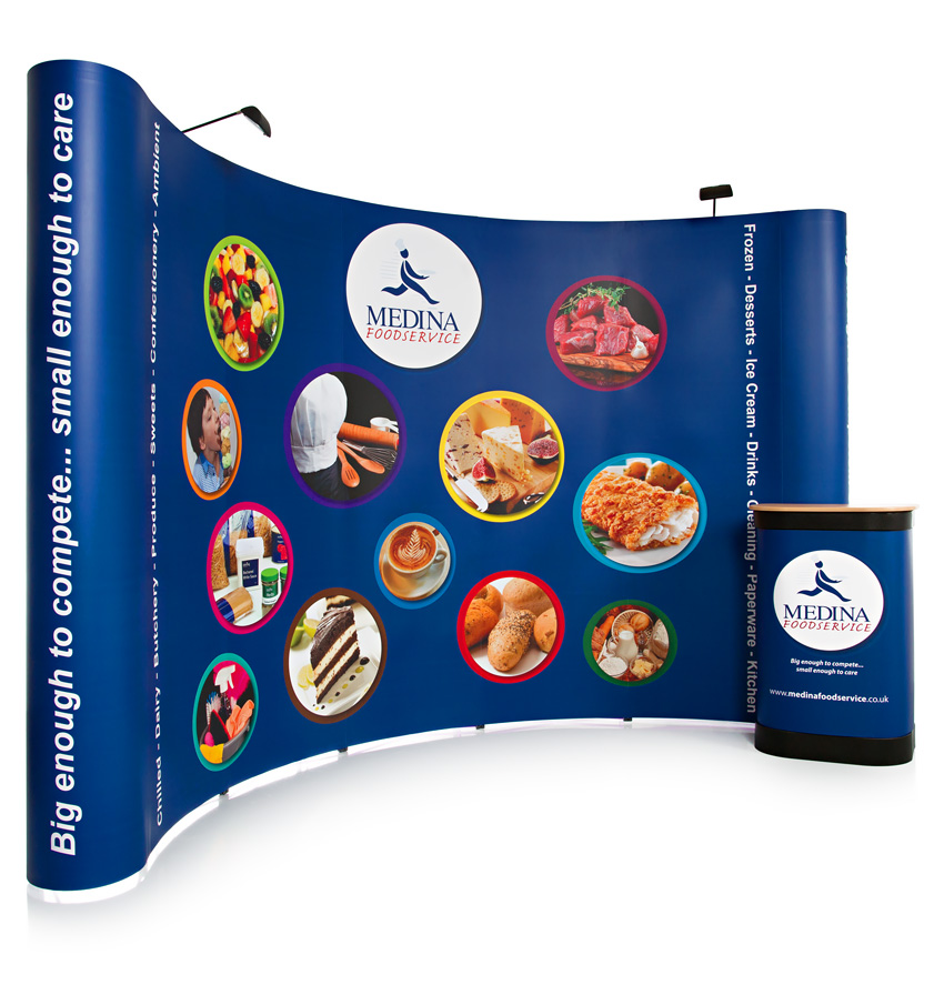 3x5 Double Sided Curved Pop Up Stand