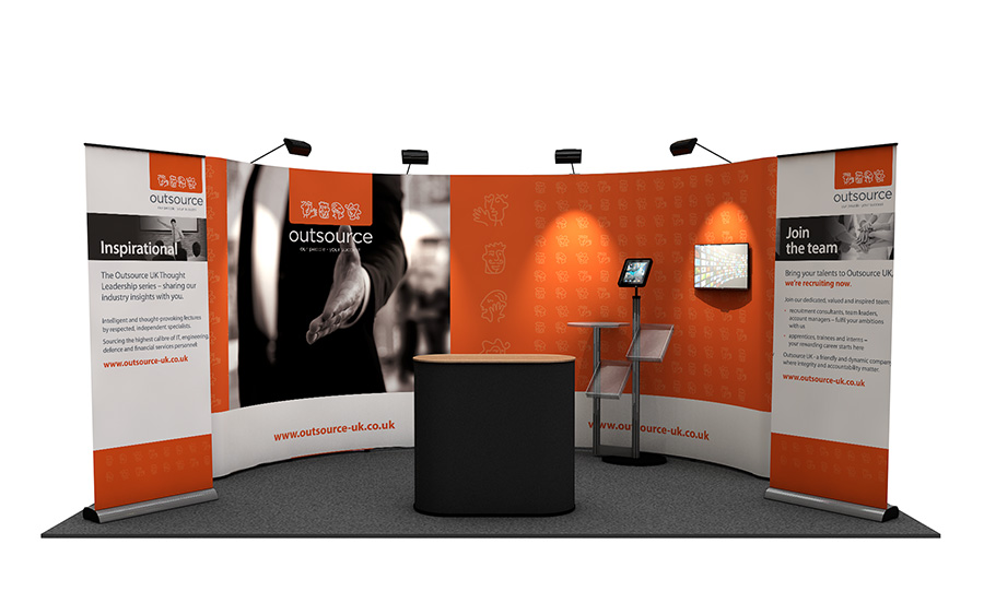 3m x 5m Curved Pop Up Exhibition Stand