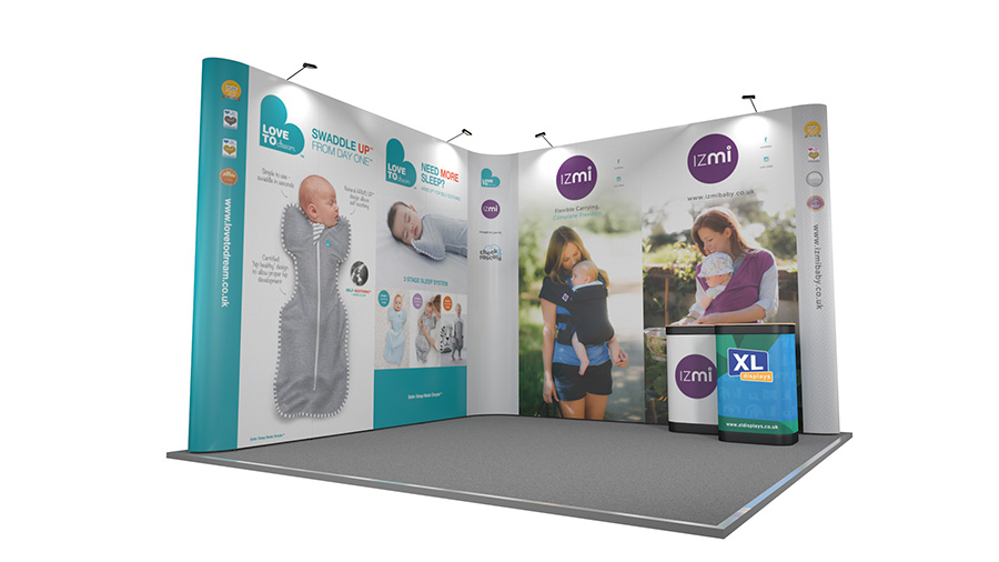 4m x 4m L-Shaped Pop Up XL Jumbo Pop Up Display Stand