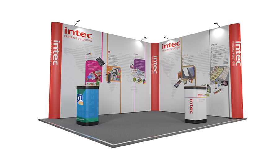 D Xl Exhibition : Linked pop up stands l shaped pop up stands exhibition stands uk
