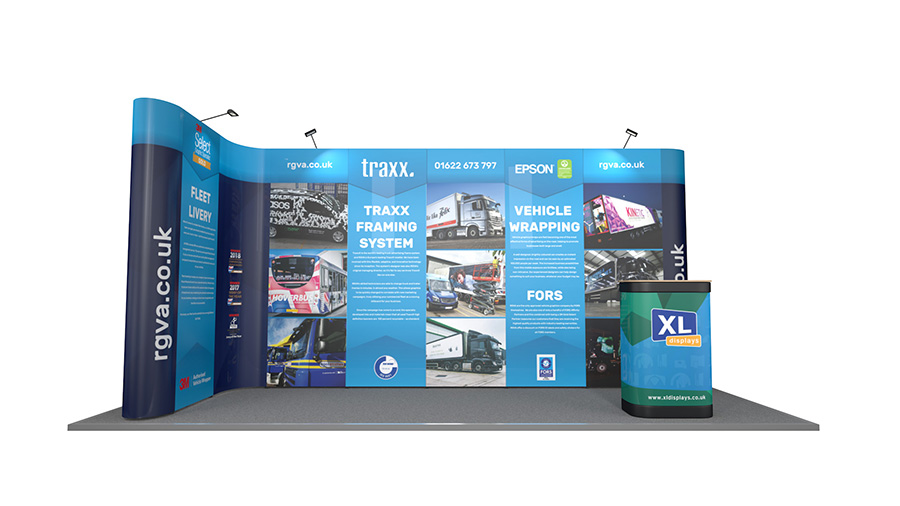 5m x 2m Linked L-Shaped Pop Up Exhibition Stand