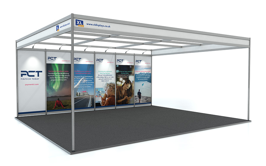 5m x 6m Back Wall Exhibition Shell Scheme PVC Graphics