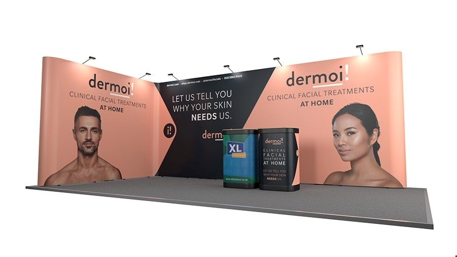 6m x 3m L-Shaped Pop Up Exhibition Stand Backwall