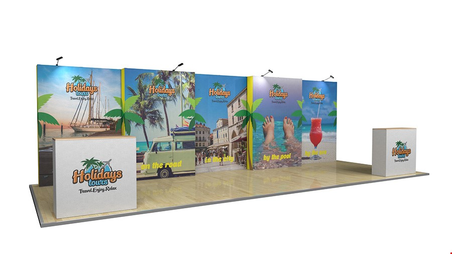 8m Tension Fabric Back Wall Exhibition Stand