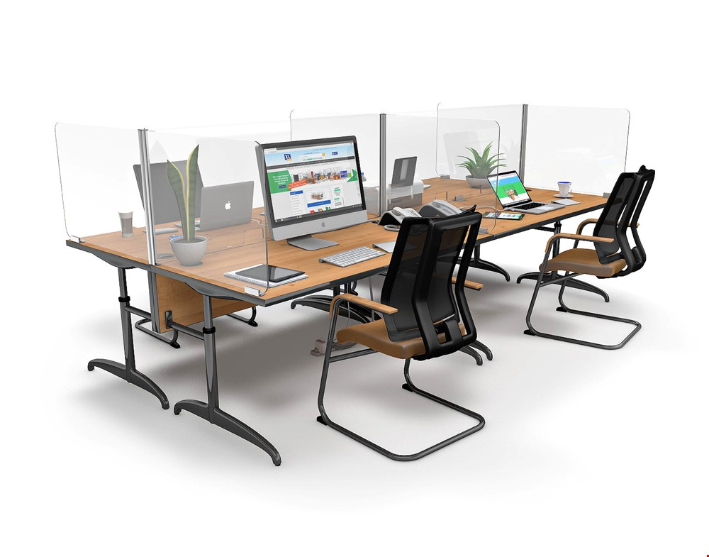 ACHOO<sup>®</sup>  Crystal Clear Modular Desk Screens 4 Bay Workstation Dividers