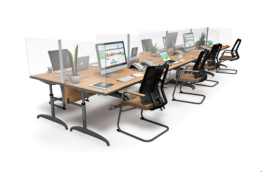 ACHOO<sup>®</sup>  Crystal Clear Modular Desk Screens 8 Bay Workstation Dividers