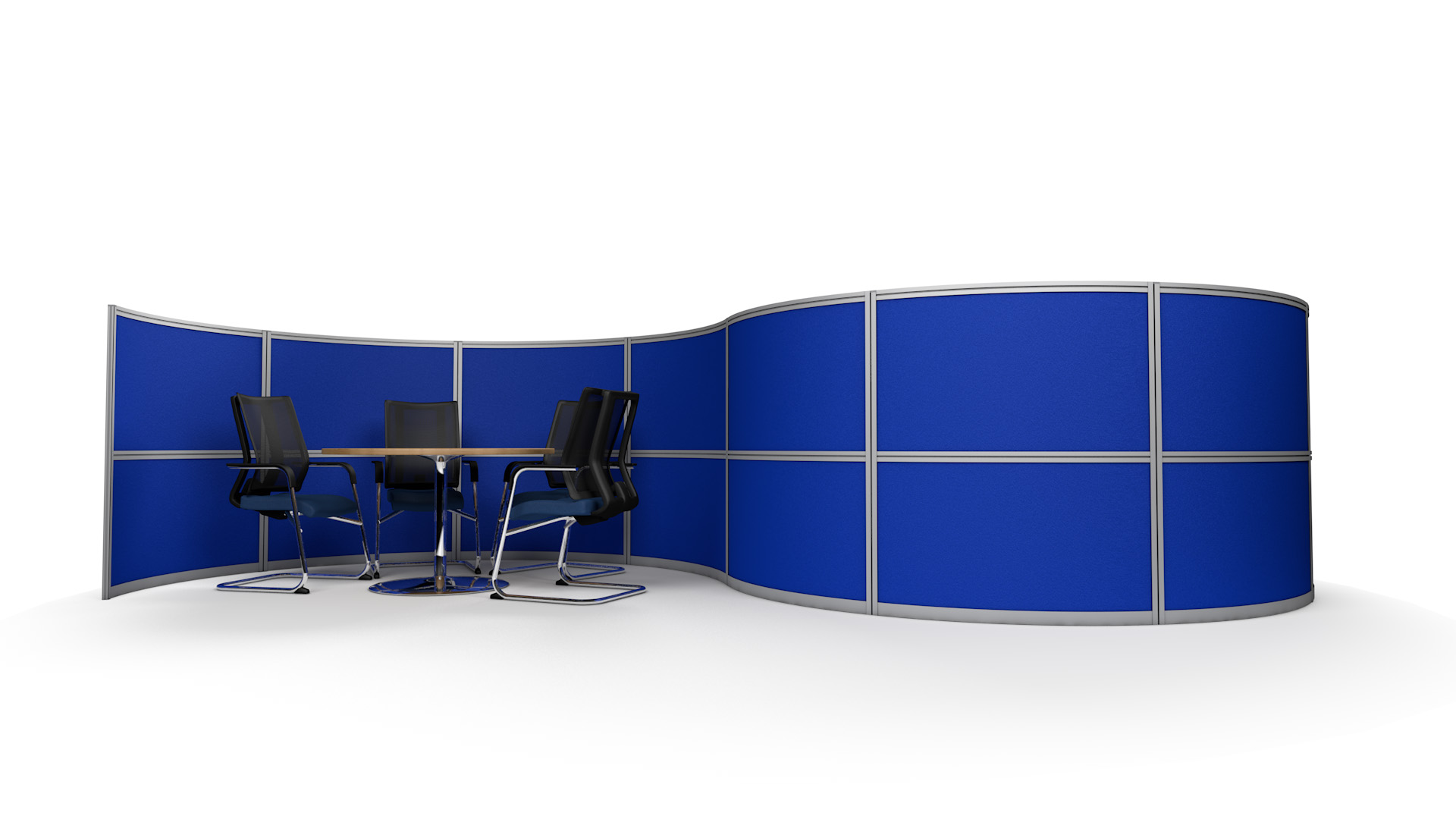 6m S-Shaped Office Partition Wall With Two Curved Meeting Pods