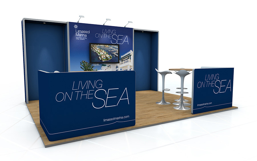 Linear Vector Back Wall Exhibition Stand 4m x 4m