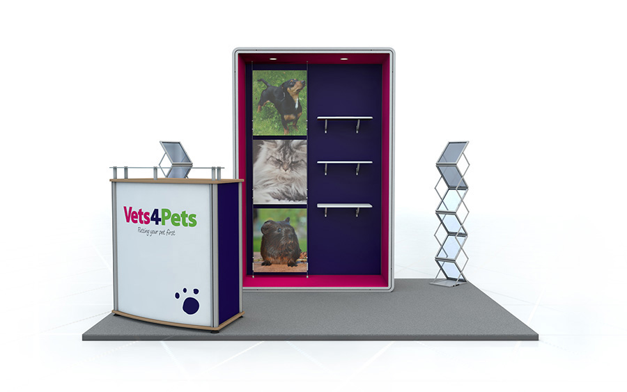 Linear Exhibition Stand with Shelving 3m x 3m