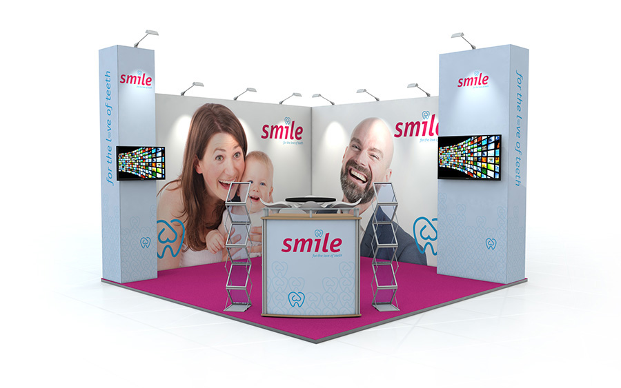 Linear Vector L-Shaped Exhibition Stand 4m x 4m
