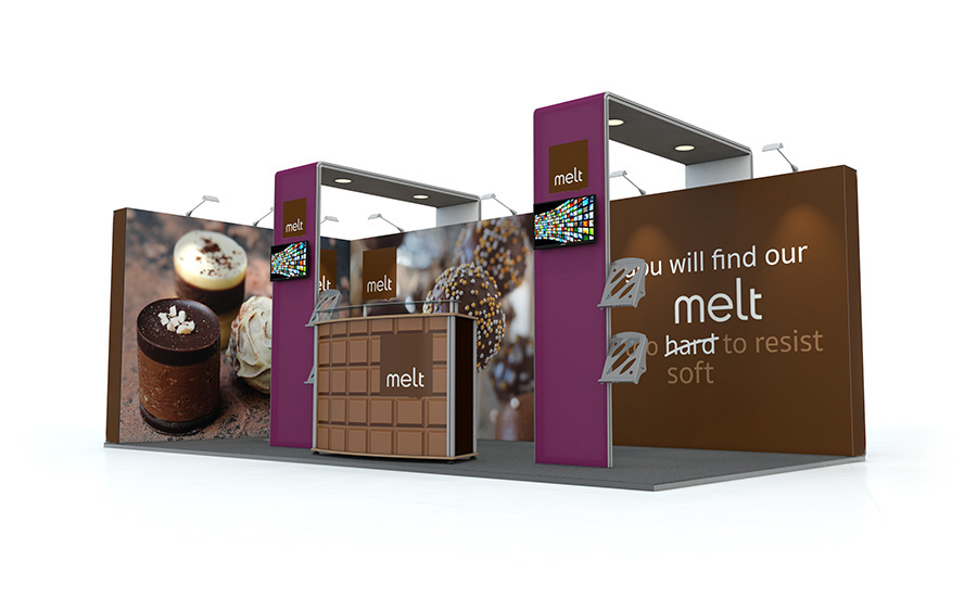 Linear Vector L-Shaped Exhibition Stand with Arches 3m x 6m