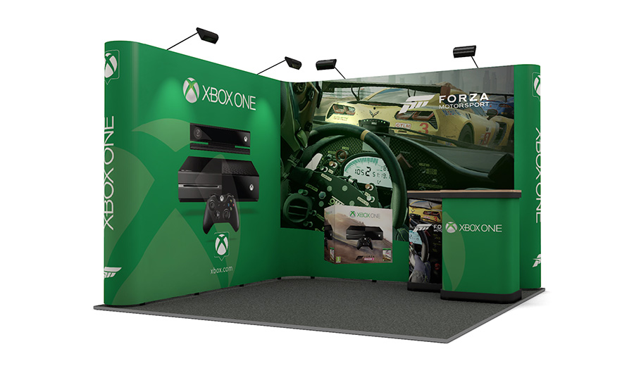 Expo Exhibition Stands Xbox One : Exhibition stand m m l shaped pop up display linked pop up