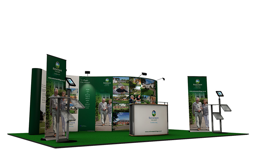 Linked Pop Up Exhibition Stand 5m x 7m