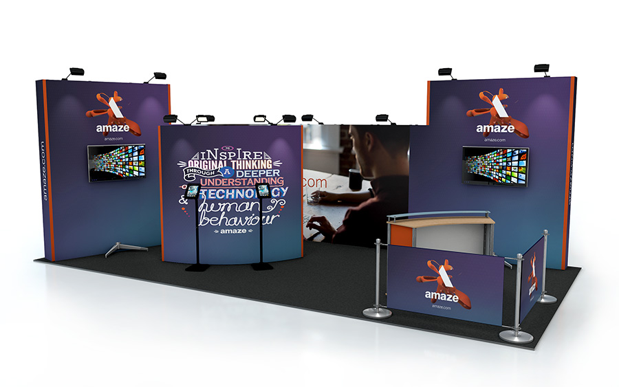 Linked Pop Up Stand 8m x 4m Exhibition Back Wall