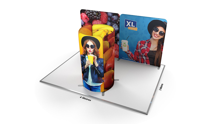Modulate<sup>™</sup> 3m x 4m Island Back Wall Fabric Display Stand