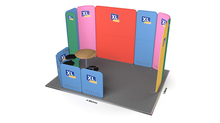 Modulate<sup>™</sup> 3m x 4m Fabric Backwall Exhibition Stand Booth