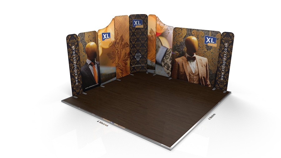 Modulate<sup>™</sup> 4m x 4m Curved L-Shaped Magnetic Fabric Exhibition Stand