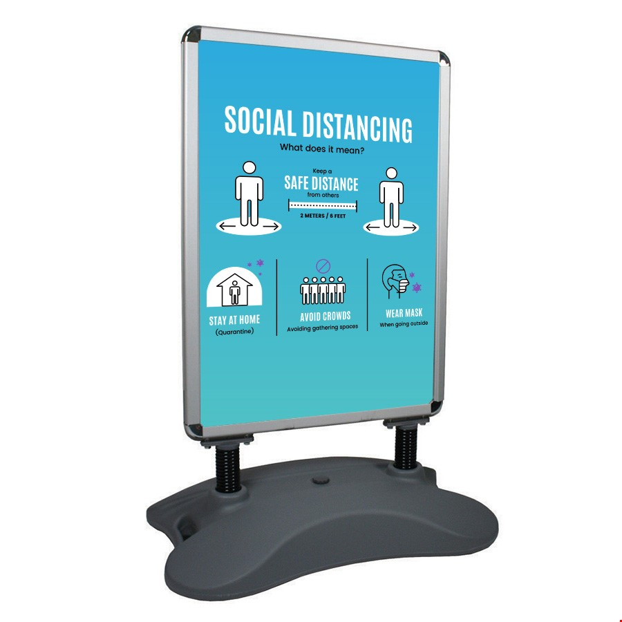 Outdoor Social Distancing Pavement Sign