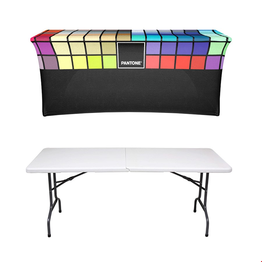 Printed Stretch Table Cover & 6ft Trestle Table Bundle