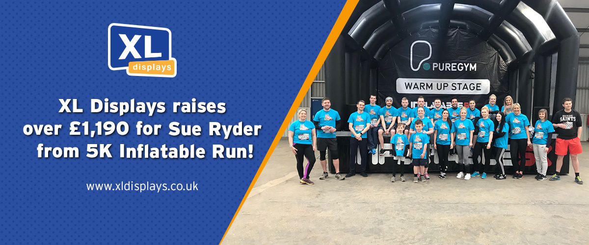 XL Displays raises over £1,190 for Sue Ryder from 5K Inflatable Run!