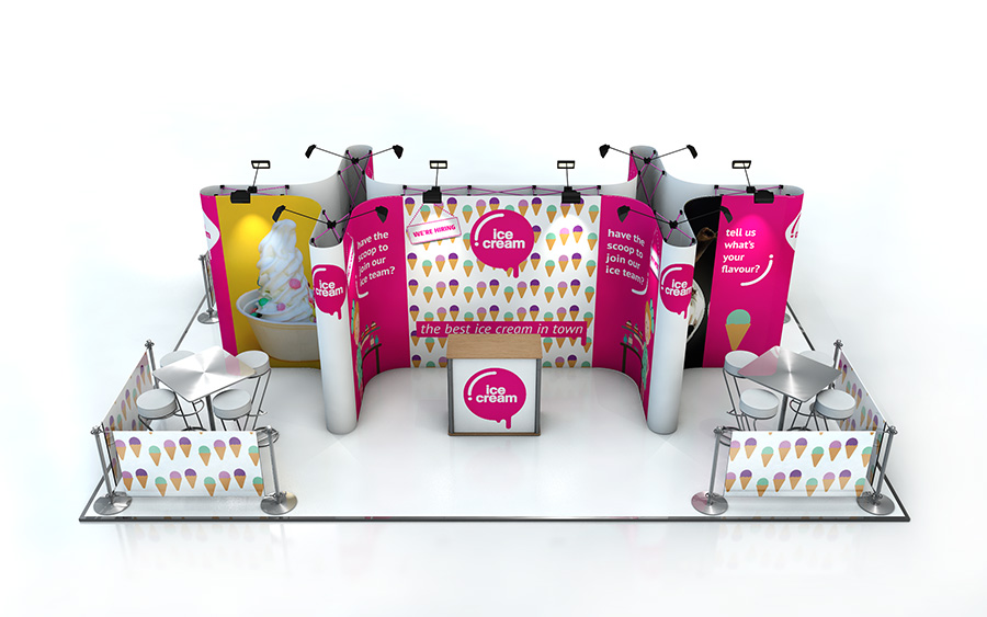 Reconfigurable Linked Pop Up Stand by XL Displays